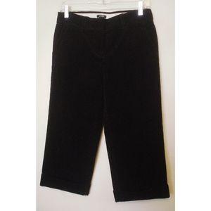 J. Crew Black Corduroy Cropped Pants Sz 0 XS EC